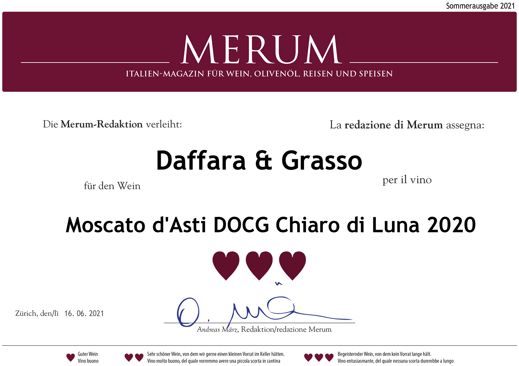 Moscato d'Asti DOCG Chiaro di Luna 2020.